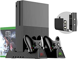 Xbox One Vertical Charger Stand with Cooling Fan - ElecGear Dual Charging Docking Station, 2x Rechargeable Battery Pack for Controller, 1x USB Hub, 12x Blu-ray Games Storage Holder Rack for Xbox One, One S, One X and Elite