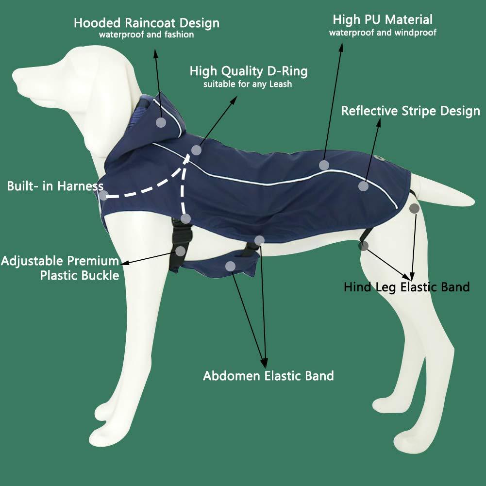 OSPet Dog Raincoat Waterproof Windproof Lightweight Dog Coat Jacket Reflective Rain Jacket with Hood Vest Harness for Small Medium Large Dogs by OSPet (Image #2)