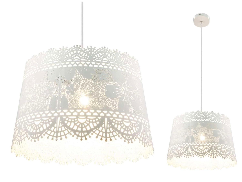 Hängelampe im Landhausstil Hängeleuchte Pendelleuchte Esszimmerlampe Esszimmerlampe Esszimmerlampe Metall Weiß (Blatt-Muster, Pendellampe, Küchenlampe, 35 cm, Höhe 150 cm) bc60ba