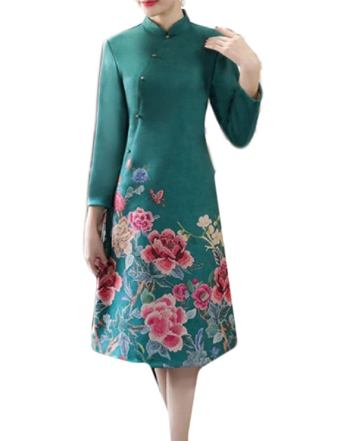 XiaoTianXin-women clothes XTX Women's Simple Qipao Vogue Suede Slim Fitted Embroidered Long Party Dress