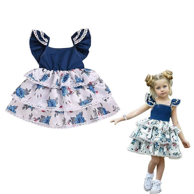 Amazon.com: Vestido de bebé para niña, vestido floral para ...