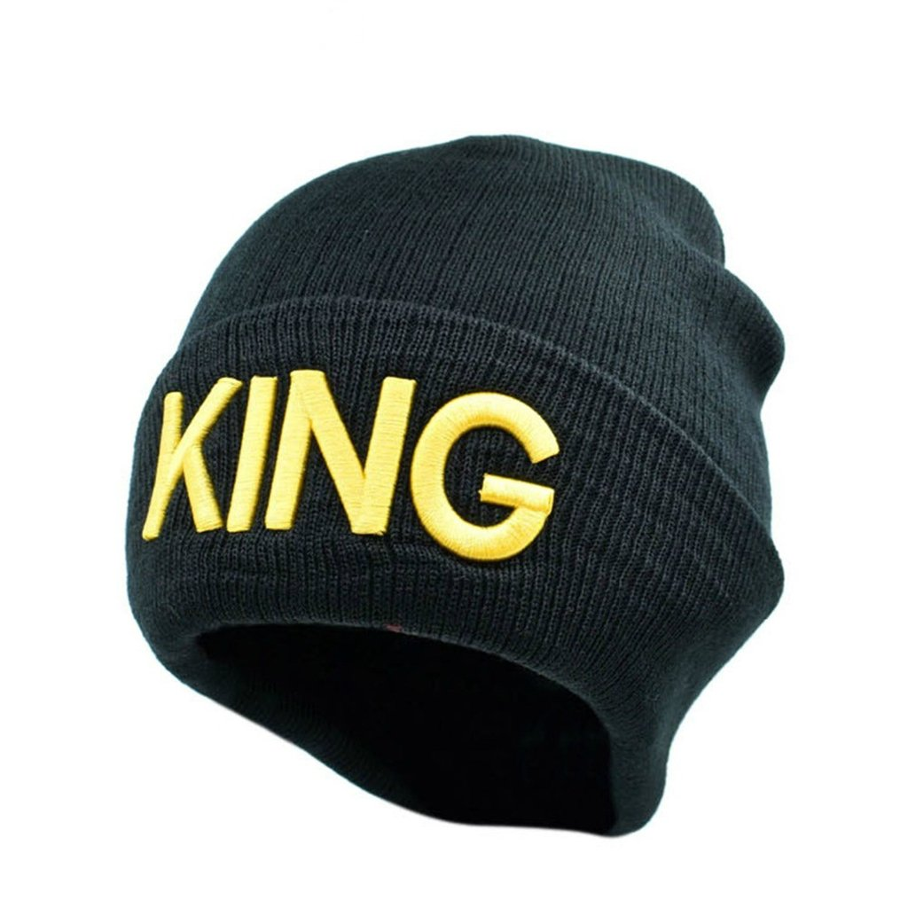0abb8369e0b Couple Matching King   Queen Warm Stylish Beanie Hat (Golden letter) at  Amazon Men s Clothing store