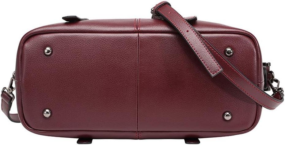 5 ALL Elegant Tasche Echtleder Damen Handtasche Schultertasche Bowlingtaschen (Grau) Weinrot