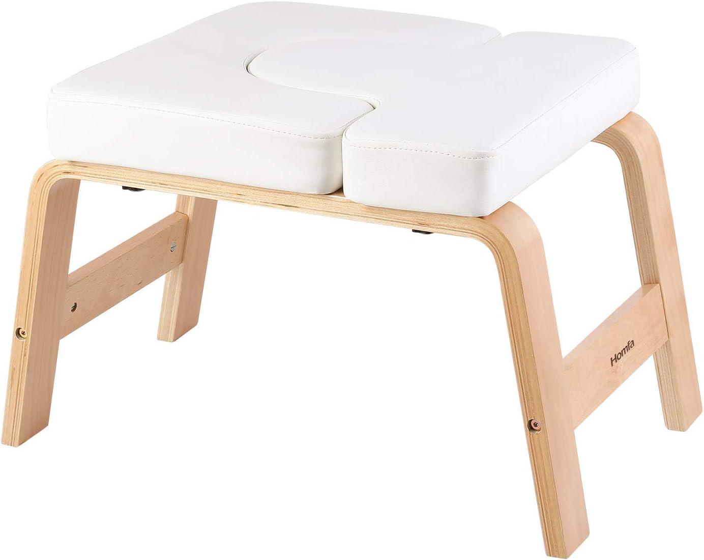 Homfa Silla de Inversión de Yoga Banco Soporte para la Cabeza Taburete de Yoga Blanco 62.5x42x39.5cm