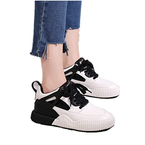 b4ce000b49a Image Unavailable. Image not available for. Color  Women Comfortable Wedge  Sneakers Fashion Lace-up Platform Casual Patchwork Lace Up Walking Shoes
