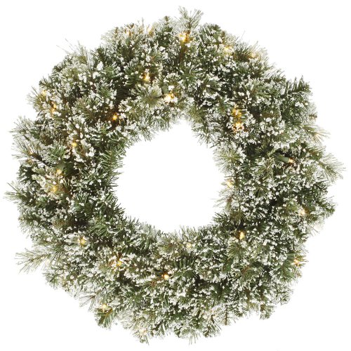 "Vickerman 24"" Pre-lit Frosted Cashmere Pine Artificial Christmas Wreath - Warm Clear LED Lights"