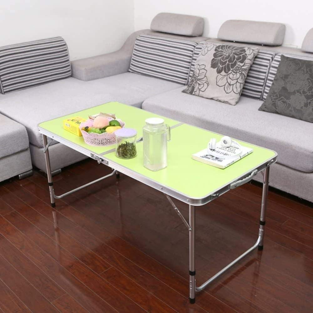 Bärbar utomhus hopfällbar stol pall set liten enkel grill matsal gatupall bord säng datorskrivbord (färg: B-trä) B-green - 4 Stools