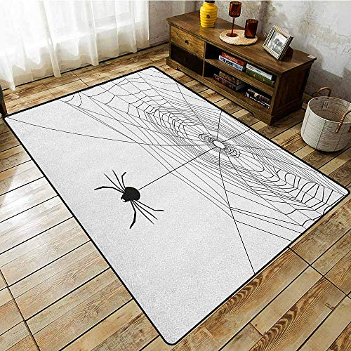 (Outdoor Patio Rug,Spider Web,Complex Doodle Net Sticky Gossamer Hunting Insect Catch Danger Prey Spooky,Anti-Static, Water-Repellent Rugs Black White)