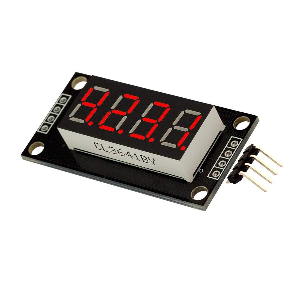0.36 pulgadas TM1637 4 d/ígitos LED M/ódulo de pantalla de tubo digital 7-Segmento Digital Tube Serial Board Board para Arduino Kits de bricolaje JBP-X