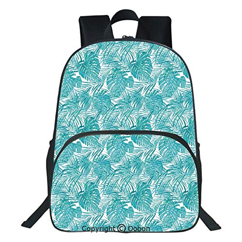 Oobon Kids Toddler School Waterproof 3D Cartoon Backpack, Neo Camouflage Tropical Summer Pattern Palm Tree Leaves Hawaiian Decorative, Fits 14 Inch Laptop ()