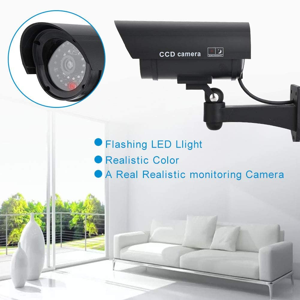SOONHUA Waterproof Security Camera Dummy CCTV Fake Surveillance Security Camera with Red Flashing LED Light for Indoor Outdoor