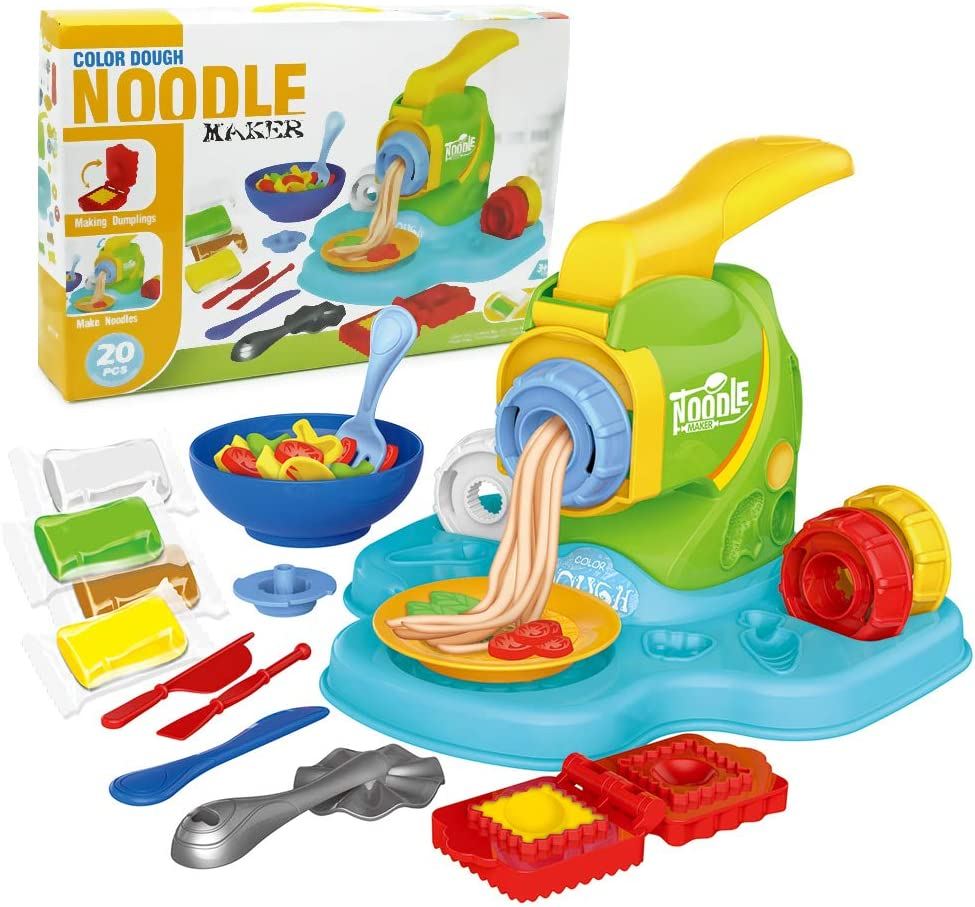 Dear Deer Play Dough Kitchen Creations Noodle Machine Playset 20PCS Dough Molding Fun Noodle Maker Set for Kids