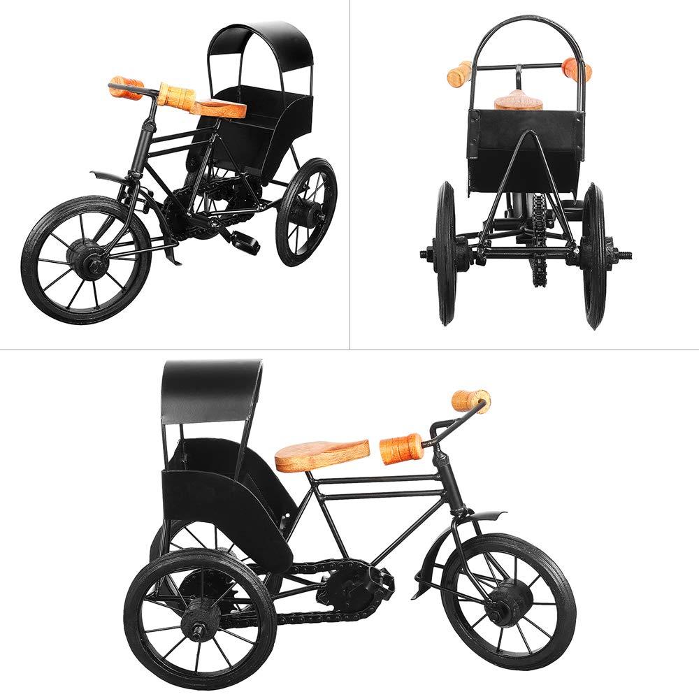 13''x9'' Iron Wooden Rickshaw, Decorative Metal 3 Wheeler Home Office, Artistic Miniature Tricycle Desks, Creative Gift Birthday, Anniversary, Christmas, Thanksgiving by Trumiri (Image #6)
