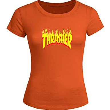22d9e3014e73 Thrasher Flame Printed for Ladies Womens T-Shirt Tee Outlet  Amazon.co.uk   Clothing