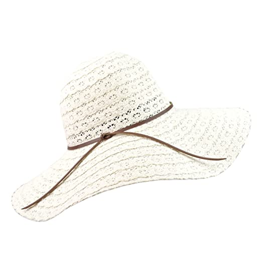 d0fa0ca9130 Women Summer Beach Sun Hats Foldable Floppy Packable UV Hat Knit Braided  Trim Vented Cotton Wide. Roll over image to zoom in