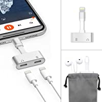 Dual iPhone/ iPad Jack Adapter & Splitter for iPhone 7 7 Plus/ iPhone 8 8 Plus/ iPhone X/XS/XS MAX/XR, Klearlook Aluminium Dual Music/Phone Call &Charging Splitter, iPhone 2 in 1 Converterfor Headphone Audio & 1 A Charge Support for iOS 10.0 or Later Double Jack Ports Sync Charging Listening At The Same Time - Silver