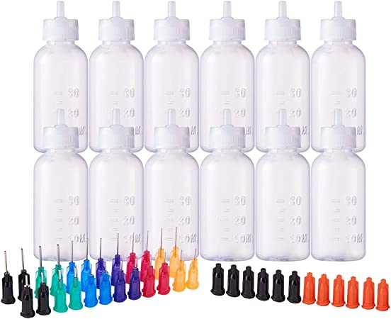 BENECREAT Multi Purpose DIY Precision Tip Applicator Bottles Set 18 Tips Oiler Bottle Glue Applicator 8 1 Ounce//1.7 Ounce Bottles 8 Caps DIY Quilling