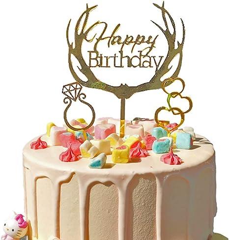 Happy Birthday Cake Topper Acrylic Children Birthday Party Cake Decoration DIY
