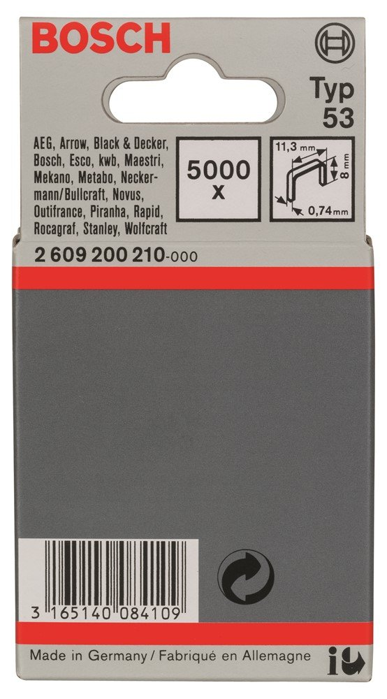 Bosch 2 609 200 210 - Grapa de alambre fino tipo 53-11, 4 x 0, 74 x 8 mm (pack de 5000) 2609200210