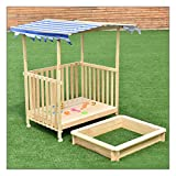 Beach Cabana Sandbox Retractable Playhouse With Ultraviolet-proof Polyester Canopy