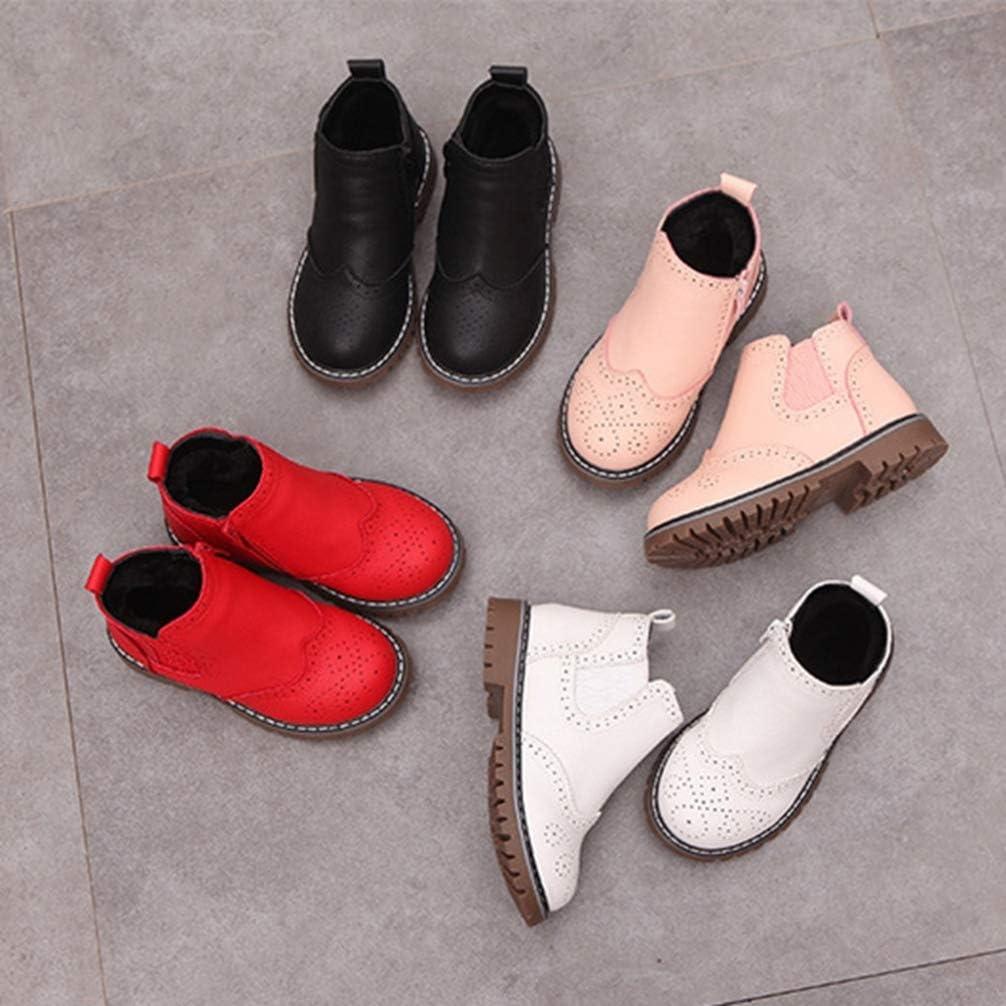 Botas de Nieve para ni/ñas Botas Martin de Cuero para ni/ños Botas de Moda Transpirables Antideslizantes para ni/ñas Zapatos Casuales para beb/és