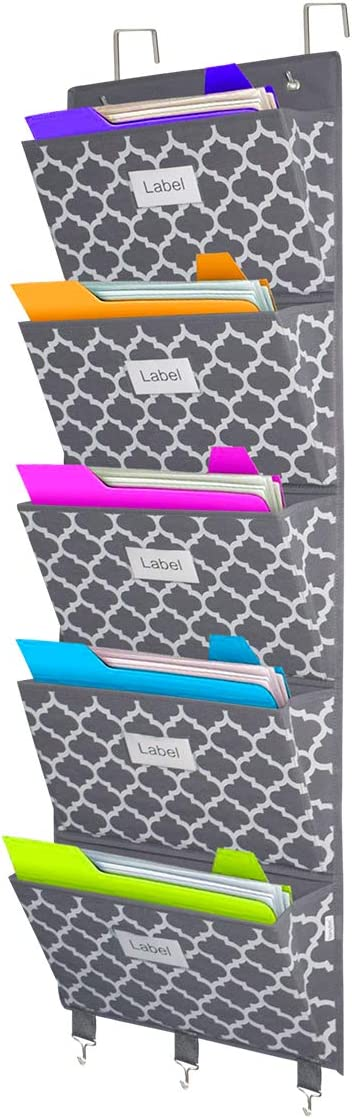 Over The Door File Organizer, Hanging Wall Mounted Storage Holder Pocket Chart for Magazine, Notebooks, Planners, Mails, 5 Extra Large Pockets(Lantern Pattern)