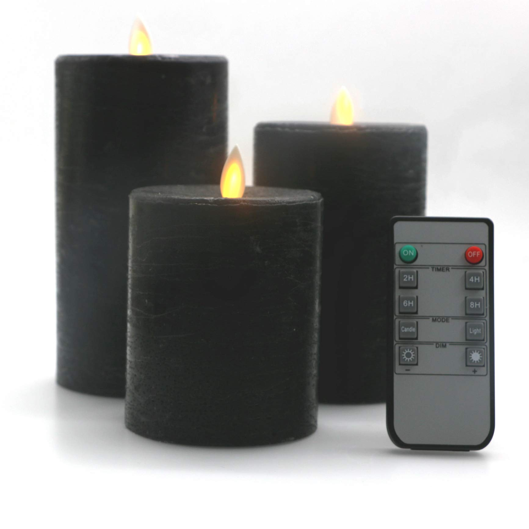 Kitch Aroma Black Flameless Pillar Candles Set of 3 Battery Operated with Moving Flame Wick Flickering LED Pillar Candle with Remote and Timer (Black, 3.15)