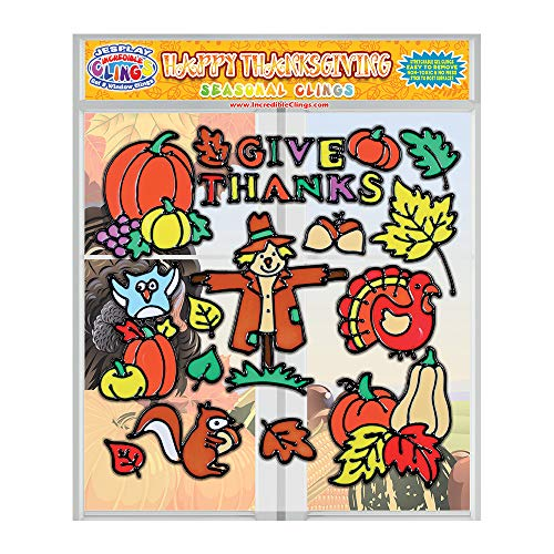 Happy Thanksgiving Flexible Gel Clings - Reusable Fall Seasonal Glass Window Clings for Kids and Adults - Incredible Gel Decals of Give Thanks, Pumpkin, Turkey, Home, Airplane, Classroom, Nursery