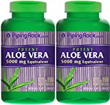 Piping Rock Potent Aloe Vera 5000 mg Equivalent 2 Bottles x 150 Softgels Quick Release Softgels Herbal Supplement