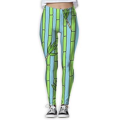 2018 Green Bamboo Women's Printed Sports Pants Yoga Pants Fitness Jogging Pants