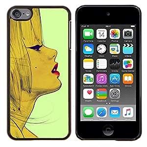 TECHCASE---Cubierta de la caja de protección para la piel dura ** Apple iPod Touch 6 6th Touch6 ** --Vendimia de la manera de la mujer de los labios de la cara