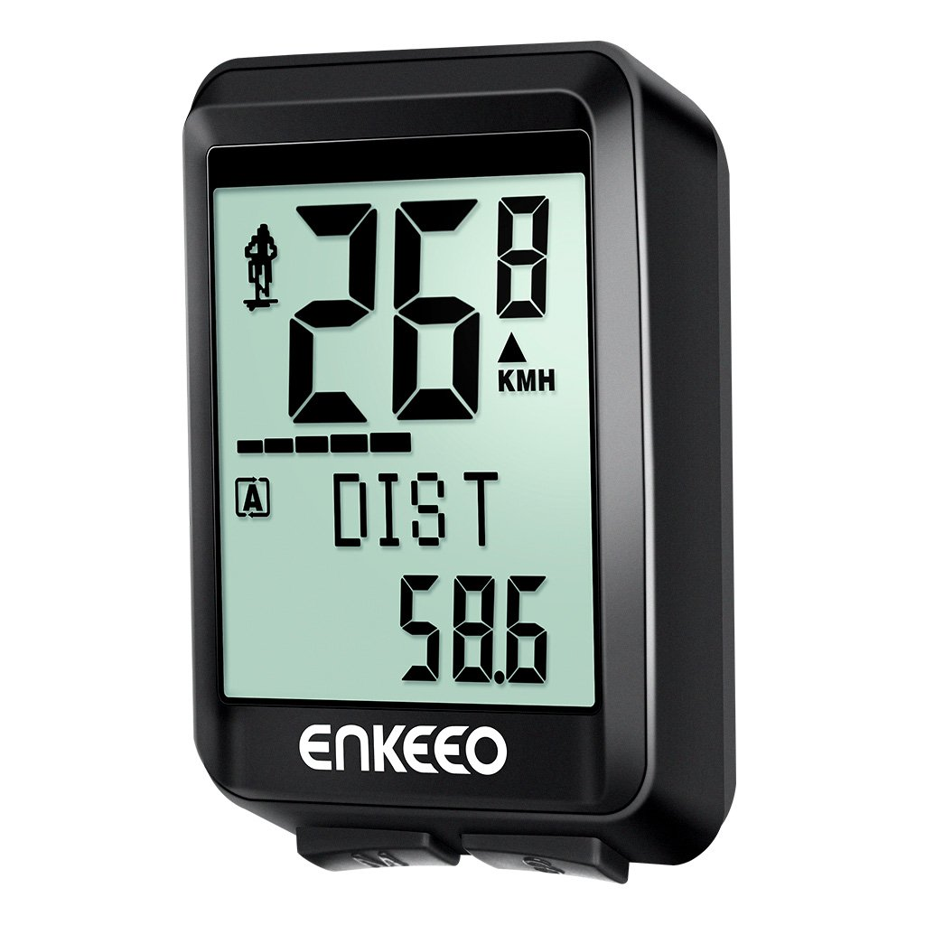 ENKEEO BKV1537 Wireless Bicycle Computer 2.4G Transmission with Cadence Sensor, Speedometer, Bike Odometer featuring 17 Functions to Track Distance, Speed, Time, Calories, Temperature, CO2 BKV-1537