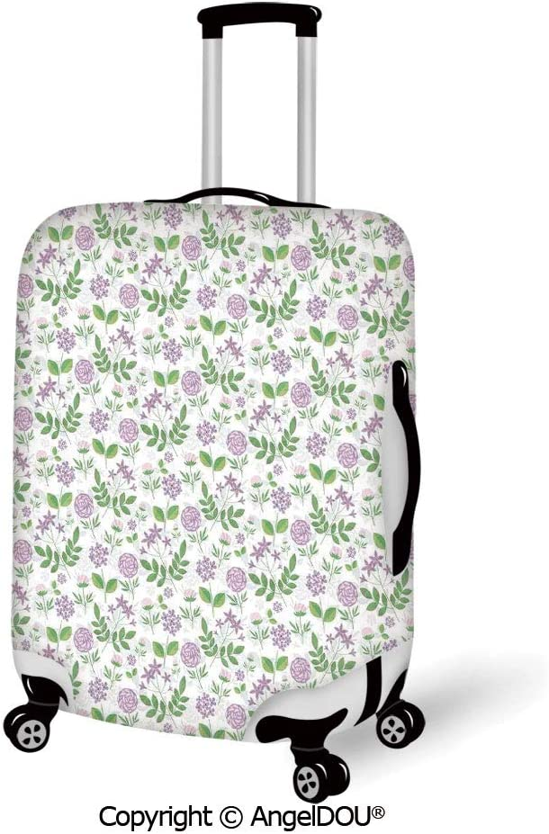 AngelDOU Luggage Suitcase Elastic Protective Covers Geometric Christmas Inspirations in Geometric Rectangles Vivid Palette and Almond Green Red for men women travel business.