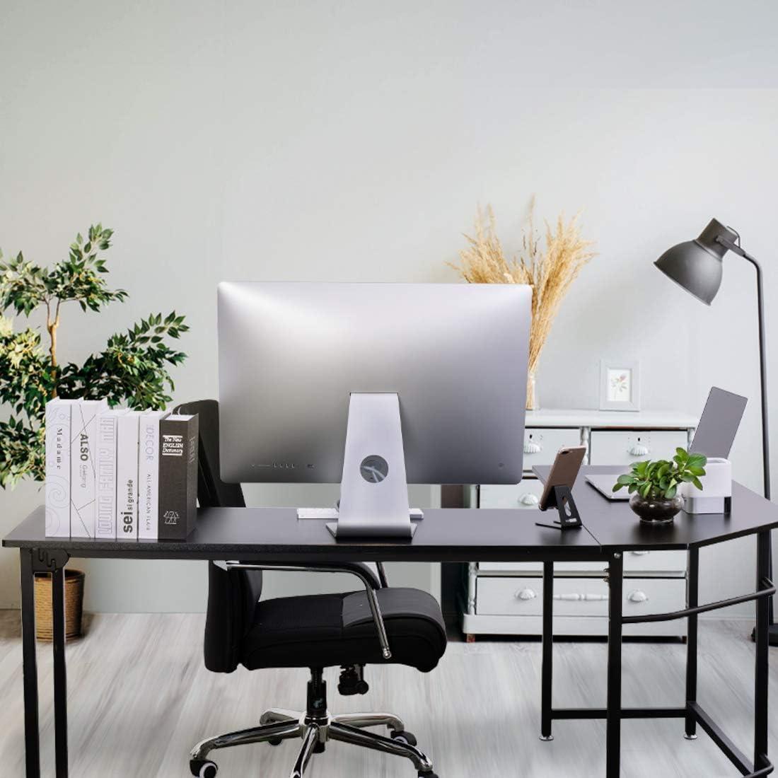 VIVOHOME L-Shaped Desk, Modern Corner Computer Desk, Study Writing Table Workstation for Home Office, Black