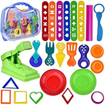 Kids Clay Dough Tool Playset, Toddler Tool Set & Play Kitchen Food Creations, Pretend Cooking Set with Squeeze Machine, Dough Molds Cutters, Shapes Maker, Play Rolling Pin- 36 pcs (Clay Included)