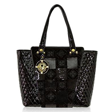 4f7eb2463e9b Valentino Orlandi Italian Designer Black Quilted Leather Flared Tote Bag   Amazon.co.uk  Shoes   Bags