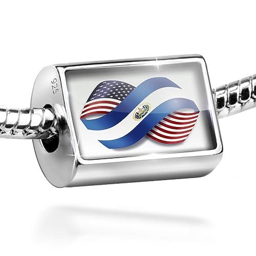 c70a7af1897c Plata de Ley infinity banderas Estados Unidos y el Salvador encanto ...