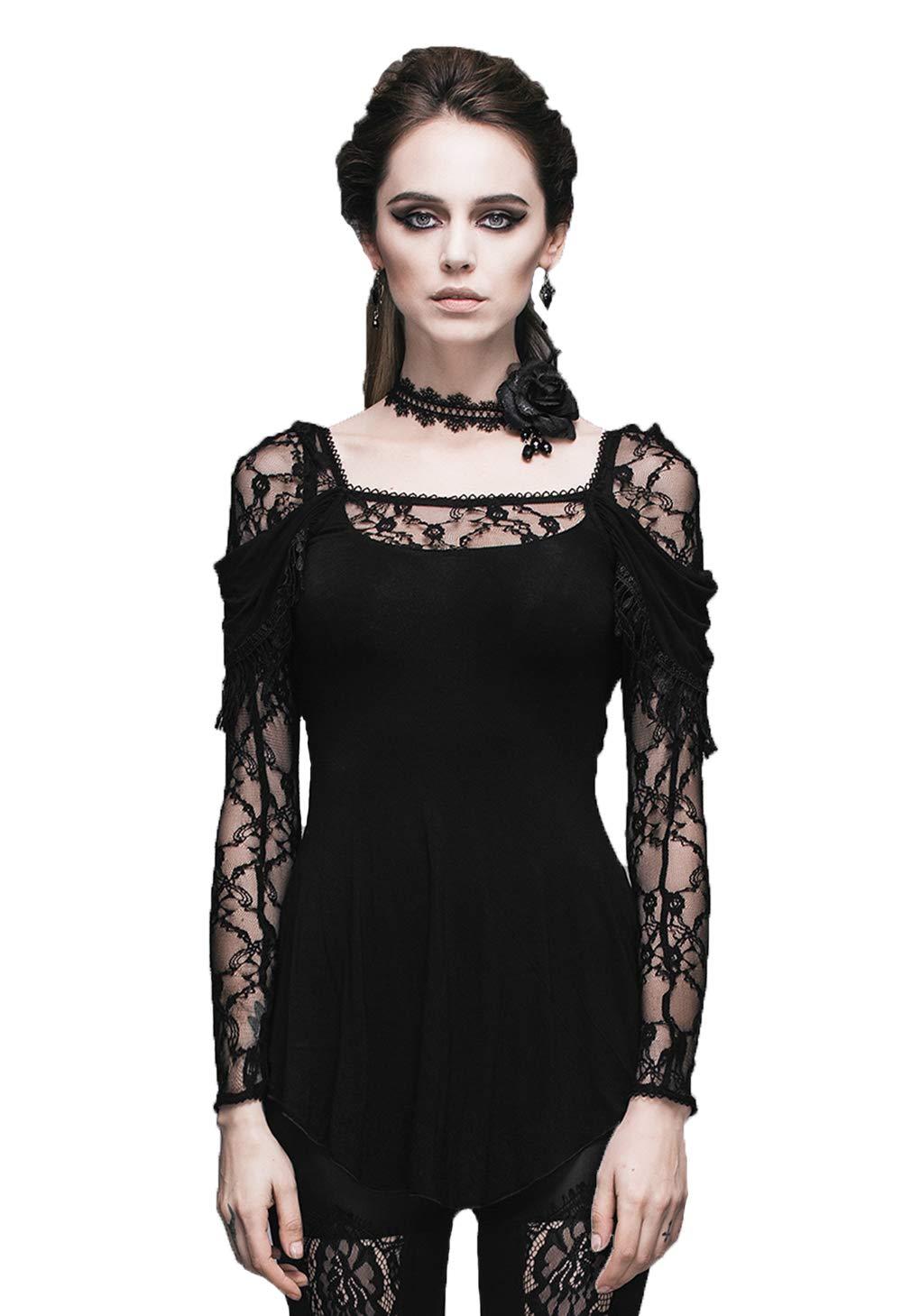 05c1ea57816e Devil Fashion Affollamento Pizzo con Scollo a V Gotiche Donne Steampunk  Camicia a Maniche Lunghe Top