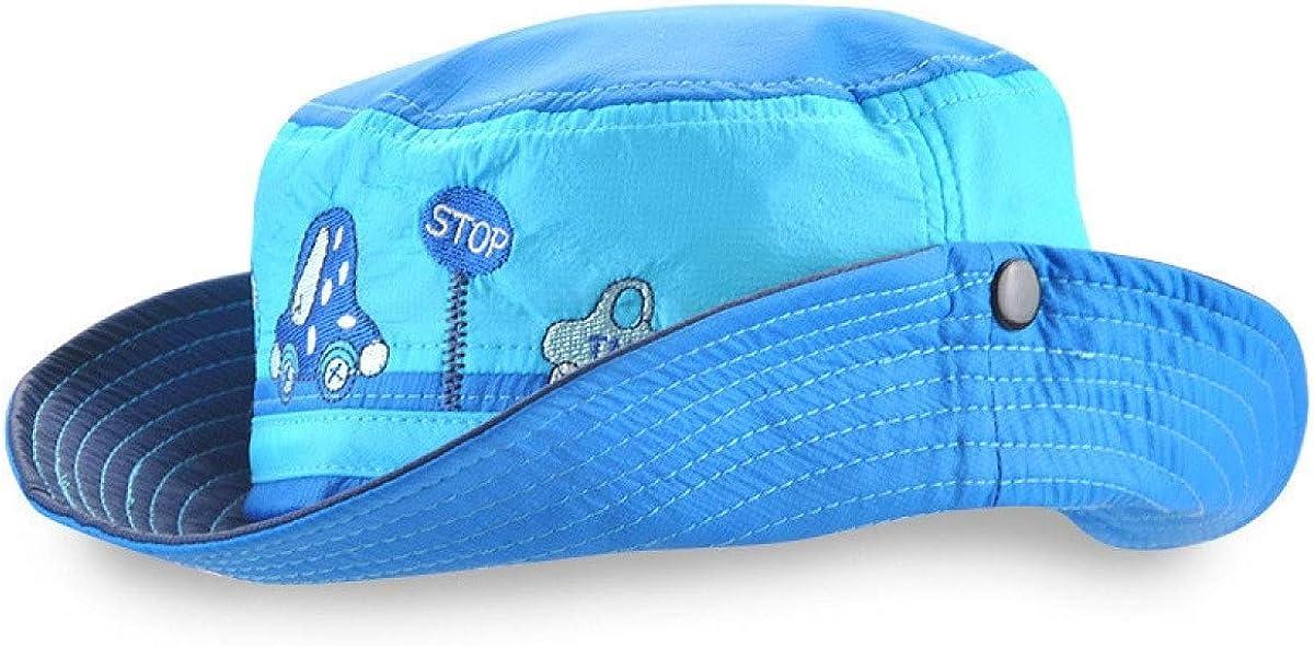 Summer Unisex Kids Mesh Sun Hats Boys Girls Outdoor Sports Bucket Hats for Children Car Fishing Cap Kids Blue