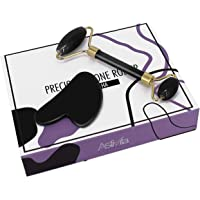 AstiVita Obsidian Black Jade Roller Set with GuaSha (Black)