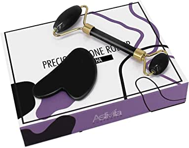 AstiVita Obsidian Black Jade Roller Set with GuaSha (Black)