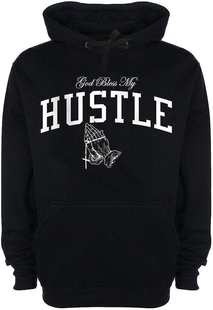 Mens God Bless My Hustle Hoodie Trap Plug Drake CEO Boss Rap Hooded Sweatshirt