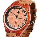 Tamlee Red Sandalwood Fashion Casual Men's Quartz Watch with Genuine Leather Miyota 2035 Movement Wood Wristwatch