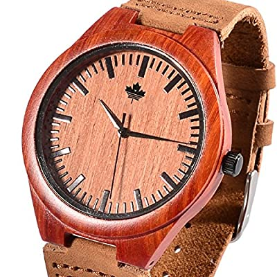 Tamlee Red Sandalwood Fashion Casual Men's Quartz Watch with Genuine Leather Miyota 2035 Movement Wood Wristwatch