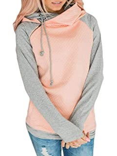 4e3ff07c5 Unidear Womens Spliced Color Hoodie Double Hooded Zipper Detail Sweatshirt  with Pockets
