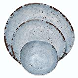 Melange 36-Piece 100% Melamine Dinnerware Set (Rustic Egg Collection ) | Shatter-Proof and Chip-Resistant Melamine Plates and Bowls | Color: Blue | Dinner Plate, Salad Plate & Soup Bowl (12 Each)