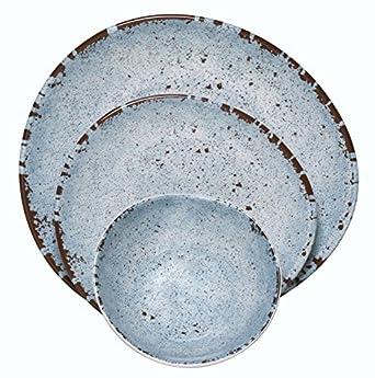 Melange 12-Piece 100% Melamine Dinnerware Set (Rustic Egg Collection ) | Shatter  sc 1 st  Amazon.com & Amazon.com: Melange 12-Piece 100% Melamine Dinnerware Set (Rustic ...