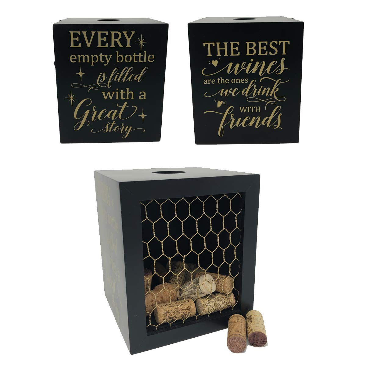 Napa Gift Store Wine Cork Shadow Box & Display Case with Chicken Wire - Holds Over 60 Corks - 7'' x 6'' x 6'' - Cork Holder, Wine Decor for Home & Kitchen