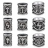 72pcs Viking Runes Beading Kit Beads for Beard Bracelet Pendant Necklace Making