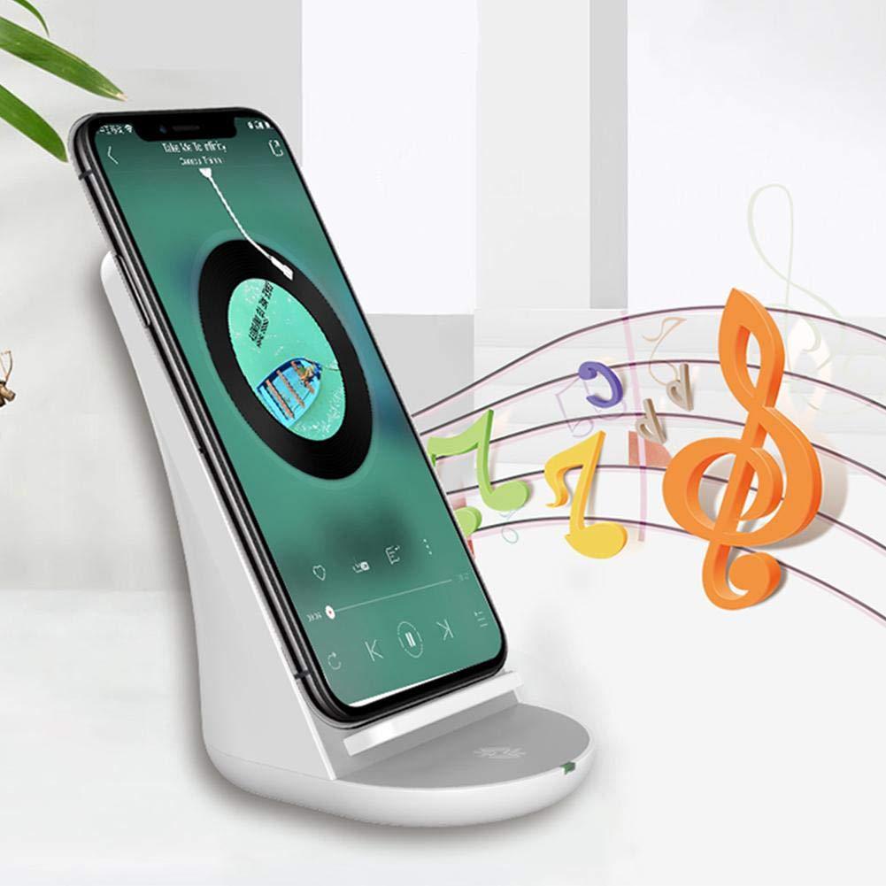 Jannyshop Chargeur sans Fil Fast avec Haut-Parleur Bluetooth Compatible avec iPhone XS, XS Max, XR, X, 8, 8 Plus, Samsung Galaxy S9, S9 +, S8, S8, S7, S7, S6, Note 9, 8 et Plus.